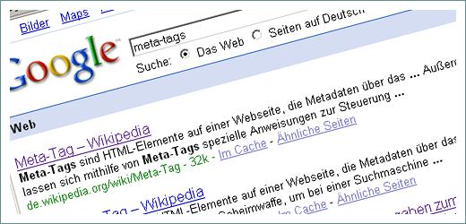 Meta-Description Tag in Suchergebnissen